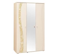 Шкаф трехдверный с зеркалом Соната 98.12 дуб кобург / магнолия глянец
