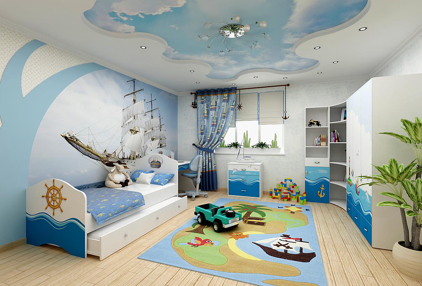 Дизайн детской комнаты на морскую тему